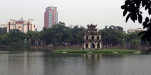 Tortoise Pagoda in Hoan Kiem Lake - dedicated to the tortoise that gave General Le Loi a sword to defeat the Chinese in the 15th century.