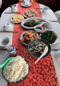 Lunch during our cruise in Ha Long Bay.