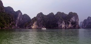 Another tour boat in Ha Long Bay.