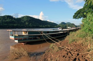 Boat docked in the Mekong River.