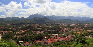 Luang Prabang seen from the top of the hill.