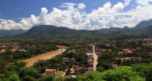 The Nam Khan River and Luang Prabang seen from Chomsy Hill.