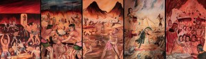 Horrific depictions of hell found on the walls inside Vipassana temple.