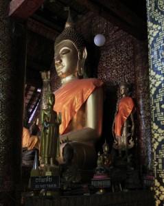 Closeup of the Buddha statue inside the main hall.