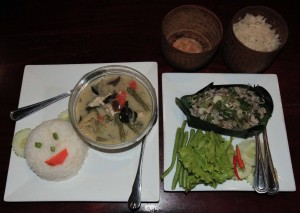 Dinner of sticky rice, steamed rice, Lao Green Curry, and Laap (minced meat with herbs and spices).