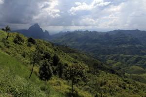 The mountainous Laotian countryside.