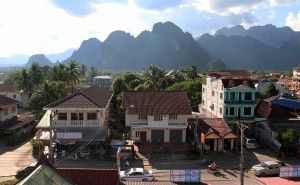 Vang Vieng seen from the hotel roof.