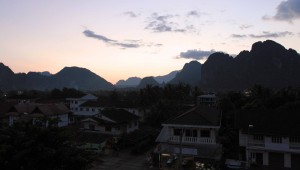 Vang Vieng at sunset.