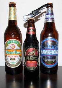 Three Laotian beers I took back to my room - I nailed them.