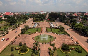 View from the top-level of the Patuxai monument.