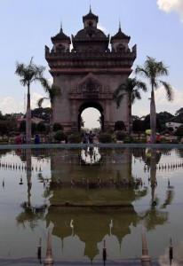 Patuxai seen from the water fountain in the park.