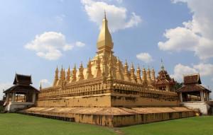 Closeup, corner view of Pha That Luang.