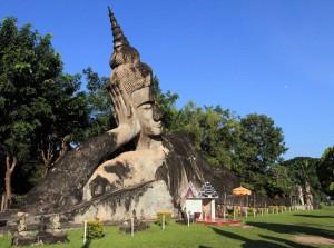 Large reclining Buddha in Buddha Park.
