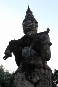 Strange and very tall statue found in Buddha Park.