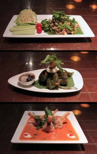 My dinner of Lao-style spicy stir-fried minced duck, deep-fried stuffed chicken wrapped in Pandanus leaf, and shrimp mousse with sugarcane in red curry - all very well presented.
