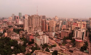 Dhaka skyline.