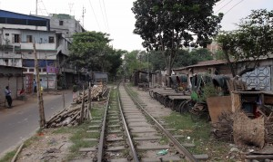 Railroad tracks in Dhaka.