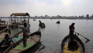 Boats in the Buriganga River.