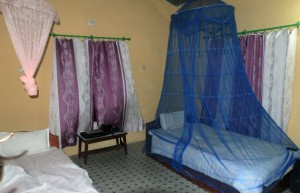 My hotel room with mosquito netting over the bed - the mosquitoes actually weren't too bad this time of year.