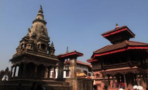 Bhaktapur Durbar Square with bell and temples.