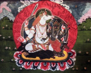 Bhairava, the god of wrath and terror, in one of his many forms with his consort.