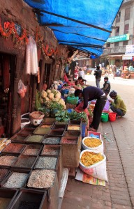 Spices and vegetables being sold in Bhaktapur.
