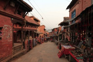 Street that leads up to Changu Narayan, lined with souvenir stands.