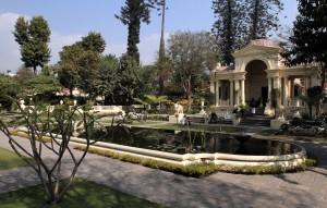 """The Garden of Dreams with the Basanta (""""Spring"""") Pavilion in the background."""