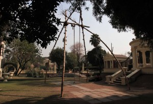 Traditional Nepalese swing made of bamboo and rope.