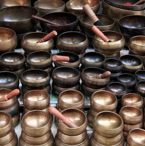"Many singing bowls (or ""rin gongs"") on sale for tourists in Kathmandu."