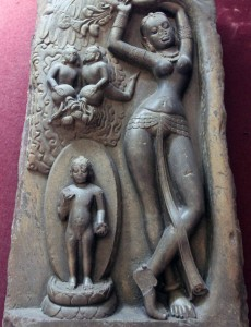 Carving depicting Buddha's nativity.