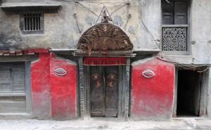 Doorway in Kathmandu with Buddha eyes.
