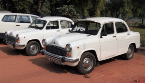 Two Hindustan Motors Ambassador cars - the automobiles most identified with India.