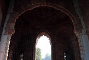 Looking through the arched entrance ways of Alai-Darwaza.