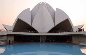 Closeup of the Lotus Temple, a Bahá'í House of Worship made in 1986.