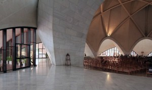 Looking inside the Lotus Temple.