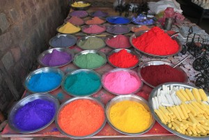 Colorful powders being sold in Orchha.