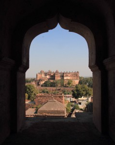 Looking toward Orchha Fort from Chaturbhuj Temple.