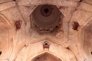 Looking up inside Chaturbhuj Temple.