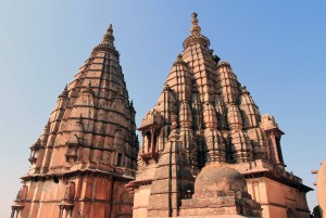The spires on top of Chaturbhuj Temple.