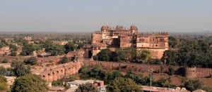 Orchha Fort seen from the top of Chaturbhuj Temple.