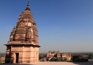 Another view of Orchha Fort from the top of Chaturbhuj Temple.