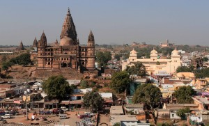 Looking at Chaturbhuj Temple and Ram Raja Temple, with Lakshmi Temple  far in the distance, on the right.
