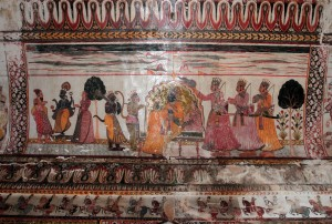 Fresco on the ceiling in Raja Mahal.