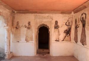 Frescoes inside Rai Praveen Mahal.