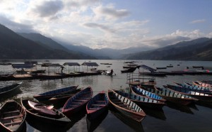 Many empty boats waiting for passengers in Phewa Lake.