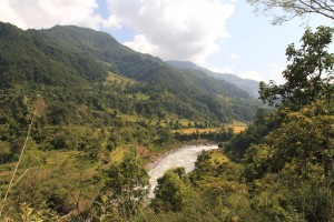 The Marsyangdi Nadi flowing through the valley.