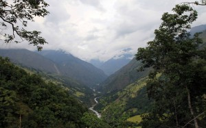 View of the Marsyangdi Nadi valley near Bahundanda.