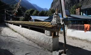 Prayer wheel wall in Chame.