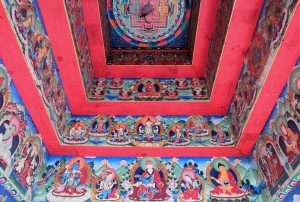 The painting ceiling under the chorten found on the trail north of Chame.